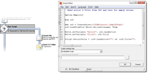 A VB Script using an external DLL updates 2 Watch local variables and checks if they are empty.